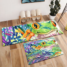 Nature Tropical Exotic Forest Frog Green Leaves Area Rugs Living Room Floor Mat