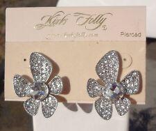 Kirks Folly Clear Crystal Flower Earrings - Pierced - Silver Tone - NEW!