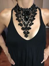 Lacing Pendant Statement Bib Necklace Costume Chunky Choker Black Chain