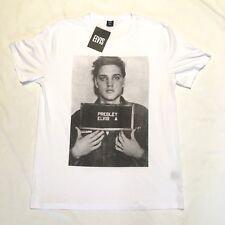 New Elvis Presley Mugshot Mens T Shirt 3XL White Cotton Rock Roll Rebel Tee BNWT