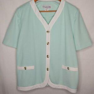 Vintage Pablo Collection Women's 18 Petite Button Blouse Shirt Mint Green Shirt