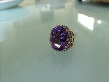14K GOLD LARGE HUGE 15 CARAT AMETHYST  SAPPHIRE COCKTAIL RING SIZE 7 HEAVY