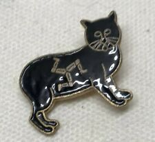 Lucky Black Manx Cat Cloisonne Brooch (Small). With Isle of Man Triskelion
