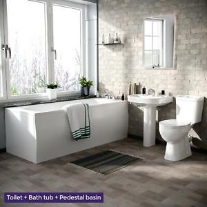 1700mm Bath, Pedestal Basin WC Toilet 3 Piece Bathroom Suite   Kentucky