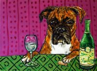 BOXER dog at the wine bar  dog art print 8x10