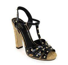 $895 New Gucci Jacquelyne Studs Patent Leather Platform Sandal,Black,310349 1000