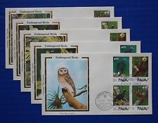 "Palau (204-207) 1989 Endangered Birds Colorano ""Silk"" FDCs"