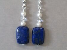 Lapis Lazuli, Swarovski Crystal & Swarovski Pearl Sterling Silver Earrings Nice!