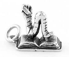 STERLING SILVER 3D OPEN BOOK & BOOKWORM CHARM PENDANT