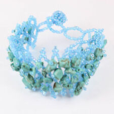 Handmade Petite Turquoise Bracelet Gem Stone Chip Adjustable /stretch Nice Gift!