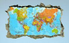Monde, Carte, autocollant, 3D, Decal, ATLAS, chambre à coucher, éducatif, Wall Art, Peinture Murale