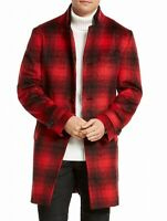 INC Mens Red Black Size Large L Todd Plaid Double Collar Topcoat $179 #346