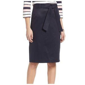 1901 Navy Black Twill Stitched Belt Back Slit Pencil Straight Skirt Women 4P NWT