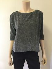 VERONICA M| Sparkle Boxy Top  Silver and Black  Boat Neck  3/4 Sleeve  Size L