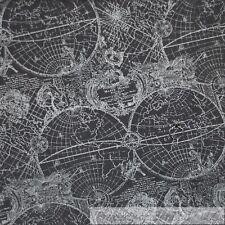 BonEful Fabric FQ Cotton Quilt Gray Silver Metallic Nautical Globe Old World Map