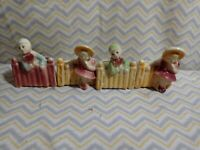 Vintage Shawnee Pottery Girl & Boy On Fence Planters Set Of  4