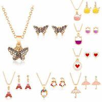 Fashion Women Girls Enamel Jewelry Set Crystal Gold Chain Necklace Earrings Gift