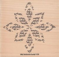"""snowflake flower unbrandedWood Mounted Rubber Stamp 4 x 4""""  Free Shipping"""