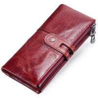 Women Vintage Genuine Leather Long Bifold Wallet Money Card Holder Clutch Purse