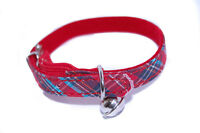 "Pet Palace® ""Celtic Cat"" tartan adjustable safety cat collar with silver bell"