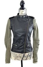 💕 Ladies Faux Black & Khaki Leather Biker Jacket Size 6