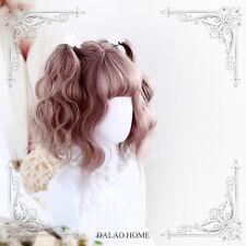 Kawaii Princess Lolita Girl Pink Brown Gradient Wig Woman Curly Hair Cospaly NEW