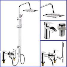 3 Way Square Shower Rigid Riser Kit with Bath Shower Mixer Tap & Basin Tap Set