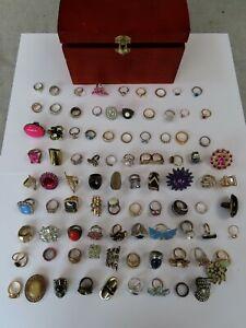 Job Lot Bundle Of Vintage & Modern Rings  Costume Jewellery  89 + Wooden Box