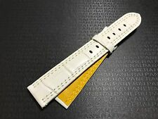20mm Dual Color Leather Watch Band White Yellow