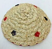 """Vintage Doll Hat Straw Asian Flowers Floral Gold Red Blue 5"""" Accessories Clothes"""