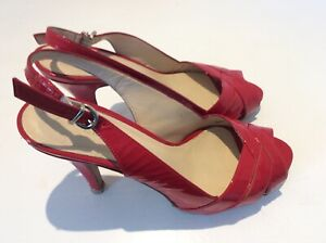 L k Bennett red patent leather slingback peep toe court shoes size 38/5