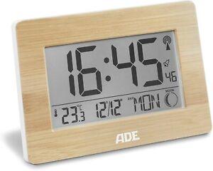 ADE Digitale Funkuhr Tischuhr Alarm mit XXL-Display Thermometer Kalender Wecker