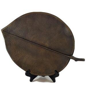 "Crate And Barrel  Metal Leaf Centerpiece Plate 14"""