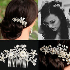 Rhinestone Bridal Wedding Flower Pearls Women Headband Hair Clip Comb Jewelry