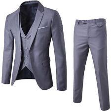 Mens 3PCs 4-Botton Wedding Suit Slim Fit  Suits Blazer Jacket + Vest+Trouser