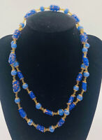 Murano Venetian Glass Beaded Necklace Sommerso Periwinkle Blue Vintage Jewelry