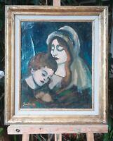 tableau huile sur toile  signée illisible