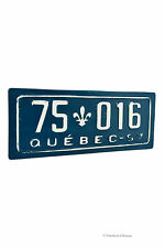 "Distressed 20"" Vintage Embossed Iron Quebec Licence Plate Wall Sign Plaque"
