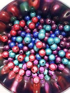 20 x Miracle Bead Acrylic Round Orb 10mm Dark Blue Purple Red Turquoise Teal