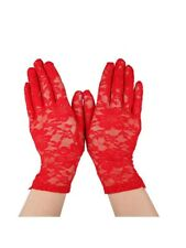 Red Lace Stretch Wrist Gloves Halloween Goth Fancy Dress Burlesque New Madonna