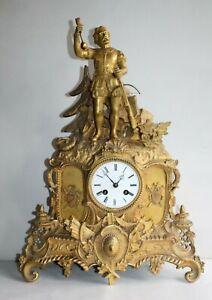 Pendule en bronze doré époque 19 ème, thème Guillaume Tell