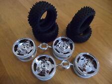 Tamiya Cromo Acabado frontal + trasera Off Road Ruedas + los neumáticos para TT02B/DF02 12mm Hex