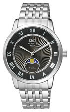 QQ $129 MEN'S MOON PHASE SILVER STEEL, BLACK DIAL, DOME CRYSTAL WATCH