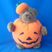 """Halloween plush Jack O Lantern Pumpkin Bear GUND 1993 10"""" tall"""