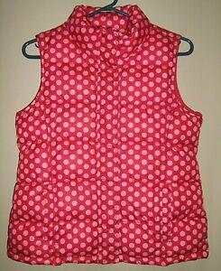 Gap Girls Sz XXL Fleece Lined Puffer Quilted Pink Dots Winter Vest EXCELLENT