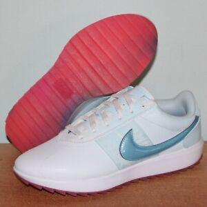 Nike Cortez G Spikeless Golf Shoes Womens 5.5 CI2283-110 White Topaz Blue New