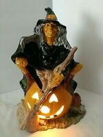 "Vtg Byron Mold HALLOWEEN WITCH Pumpkin Cat Broom 10.5"" Glazed Ceramic w/ Light"