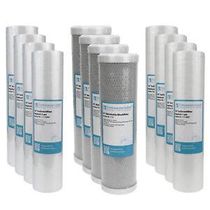 "2 Jahre Filter Set 10"" 12-teilig Ersatzfilter Umkehrosmose RO Sediment Aktivk."