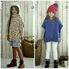 KNITTING PATTERN Childrens Easy Knit Poncho & Hat Comfort Chunky King Cole 5169