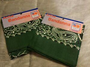 2 - Scotch Green Paisley Cotton Bandanas Scarf Handkerchief Hanky 22 x 22 New